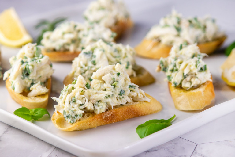 Crab Crostini with Lemon and Herbs
