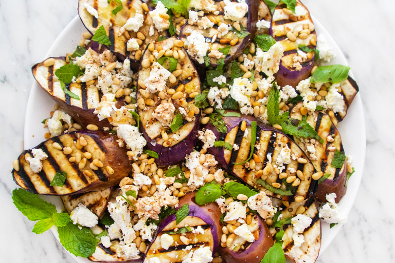 Grilled Eggplant and Goat Cheese Salad