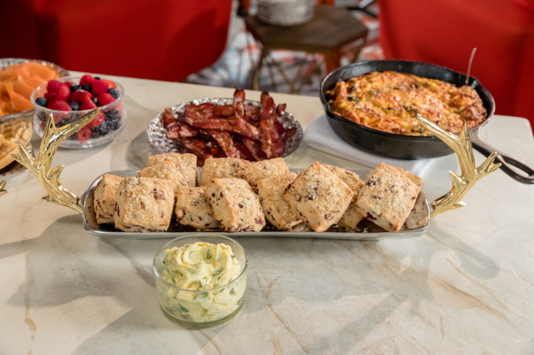 Bacon Cranberry Scones with Citrus Basil Butter
